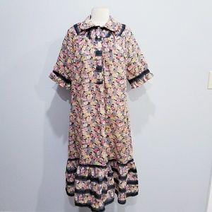 Vintage 70's hippie boho fall floral dress Large